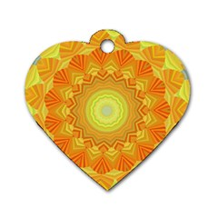 Sunshine Sunny Sun Abstract Yellow Dog Tag Heart (two Sides)