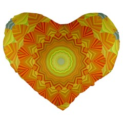 Sunshine Sunny Sun Abstract Yellow Large 19  Premium Flano Heart Shape Cushions