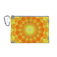 Sunshine Sunny Sun Abstract Yellow Canvas Cosmetic Bag (m)