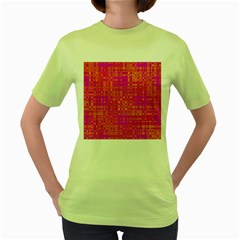 Pink Orange Bright Abstract Women s Green T-Shirt