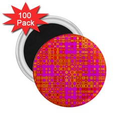Pink Orange Bright Abstract 2.25  Magnets (100 pack)