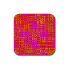 Pink Orange Bright Abstract Rubber Coaster (square)