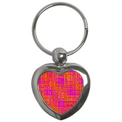 Pink Orange Bright Abstract Key Chains (Heart)