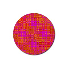 Pink Orange Bright Abstract Rubber Round Coaster (4 Pack)