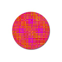 Pink Orange Bright Abstract Magnet 3  (Round)