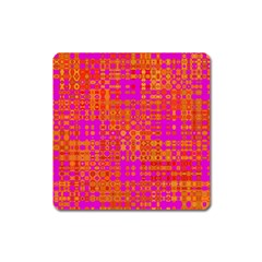 Pink Orange Bright Abstract Square Magnet