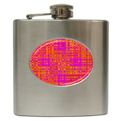 Pink Orange Bright Abstract Hip Flask (6 oz)