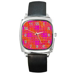 Pink Orange Bright Abstract Square Metal Watch