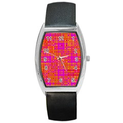 Pink Orange Bright Abstract Barrel Style Metal Watch