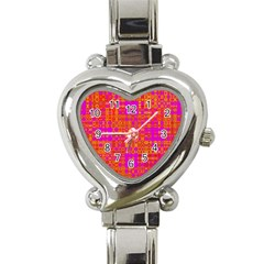 Pink Orange Bright Abstract Heart Italian Charm Watch