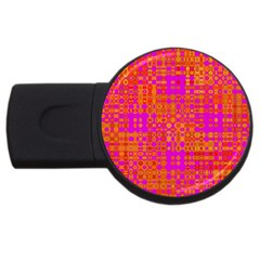 Pink Orange Bright Abstract USB Flash Drive Round (4 GB)