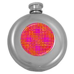Pink Orange Bright Abstract Round Hip Flask (5 oz)