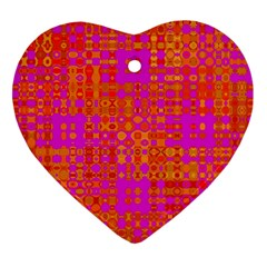 Pink Orange Bright Abstract Heart Ornament (Two Sides)