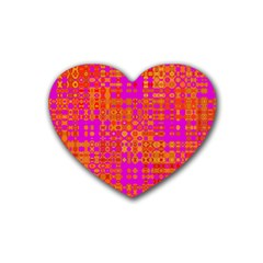 Pink Orange Bright Abstract Rubber Coaster (heart)