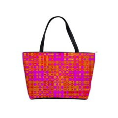 Pink Orange Bright Abstract Shoulder Handbags