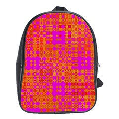 Pink Orange Bright Abstract School Bags(Large)