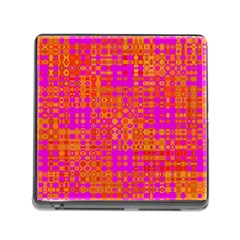Pink Orange Bright Abstract Memory Card Reader (square)