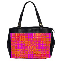 Pink Orange Bright Abstract Office Handbags (2 Sides)