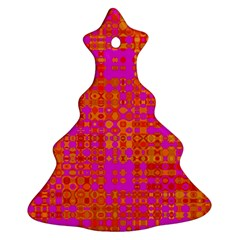 Pink Orange Bright Abstract Christmas Tree Ornament (two Sides)