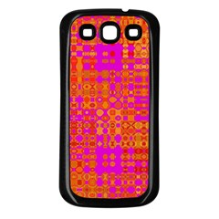 Pink Orange Bright Abstract Samsung Galaxy S3 Back Case (black)