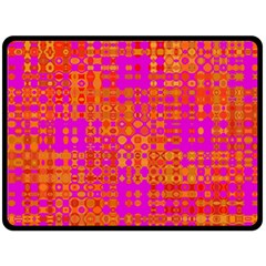 Pink Orange Bright Abstract Double Sided Fleece Blanket (Large)