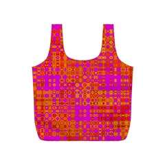 Pink Orange Bright Abstract Full Print Recycle Bags (s)