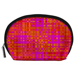 Pink Orange Bright Abstract Accessory Pouches (large)