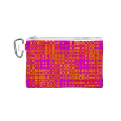 Pink Orange Bright Abstract Canvas Cosmetic Bag (s)