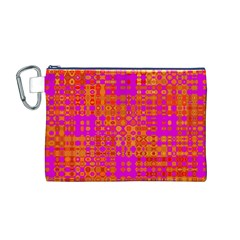 Pink Orange Bright Abstract Canvas Cosmetic Bag (m)