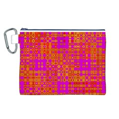 Pink Orange Bright Abstract Canvas Cosmetic Bag (l)