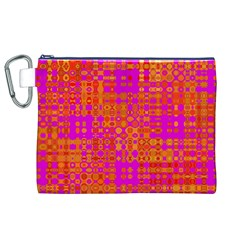 Pink Orange Bright Abstract Canvas Cosmetic Bag (xl)