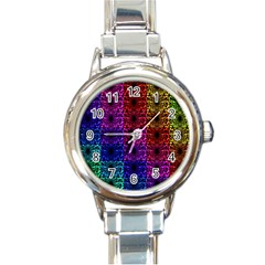 Rainbow Grid Form Abstract Round Italian Charm Watch