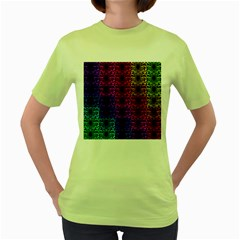 Rainbow Grid Form Abstract Women s Green T Shirt