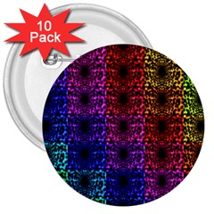 Rainbow Grid Form Abstract 3  Buttons (10 pack)