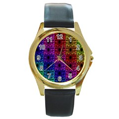 Rainbow Grid Form Abstract Round Gold Metal Watch