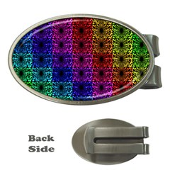 Rainbow Grid Form Abstract Money Clips (oval)