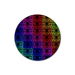 Rainbow Grid Form Abstract Rubber Round Coaster (4 pack)