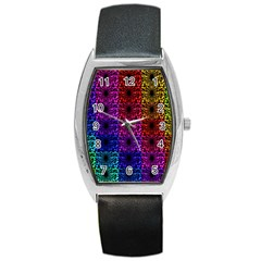 Rainbow Grid Form Abstract Barrel Style Metal Watch