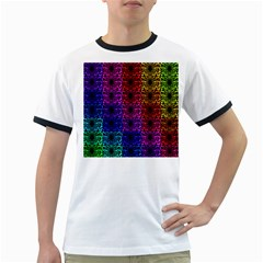 Rainbow Grid Form Abstract Ringer T-Shirts