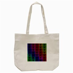 Rainbow Grid Form Abstract Tote Bag (cream)