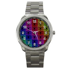 Rainbow Grid Form Abstract Sport Metal Watch