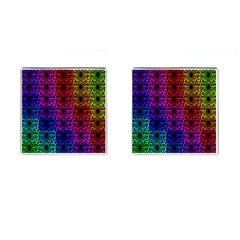 Rainbow Grid Form Abstract Cufflinks (Square)