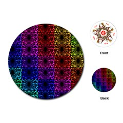 Rainbow Grid Form Abstract Playing Cards (Round)