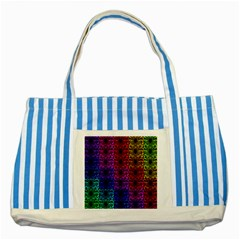 Rainbow Grid Form Abstract Striped Blue Tote Bag