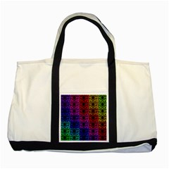 Rainbow Grid Form Abstract Two Tone Tote Bag