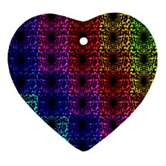 Rainbow Grid Form Abstract Heart Ornament (Two Sides)