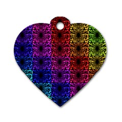 Rainbow Grid Form Abstract Dog Tag Heart (Two Sides)