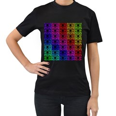 Rainbow Grid Form Abstract Women s T-Shirt (Black)