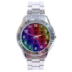 Rainbow Grid Form Abstract Stainless Steel Analogue Watch