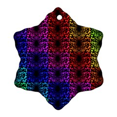 Rainbow Grid Form Abstract Snowflake Ornament (Two Sides)